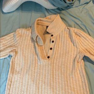 cream, knit shirt